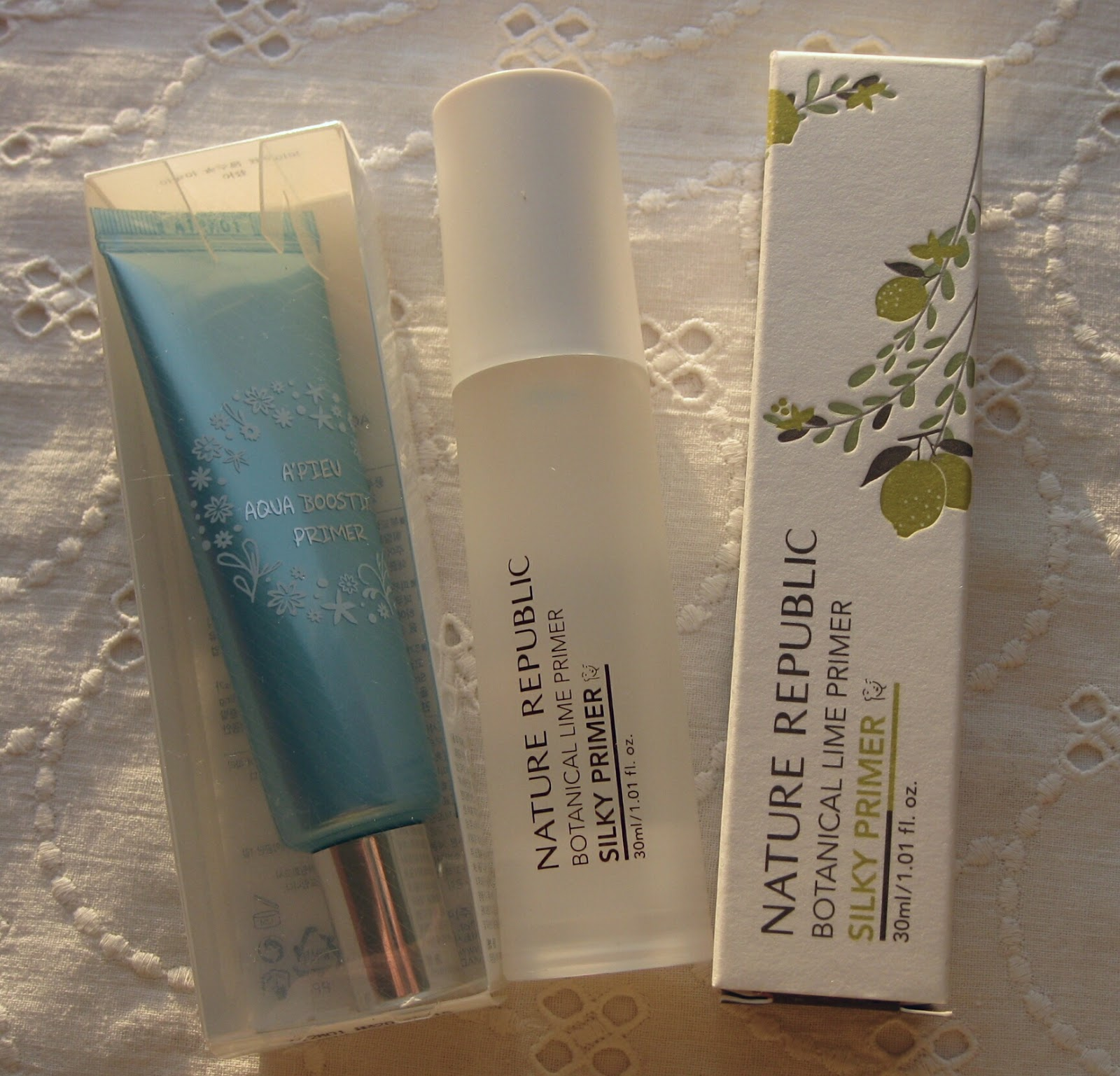 A'PIEU Aqua Boosting Primer, NATURE REPUBLIC Botanical Lime Silky Primer