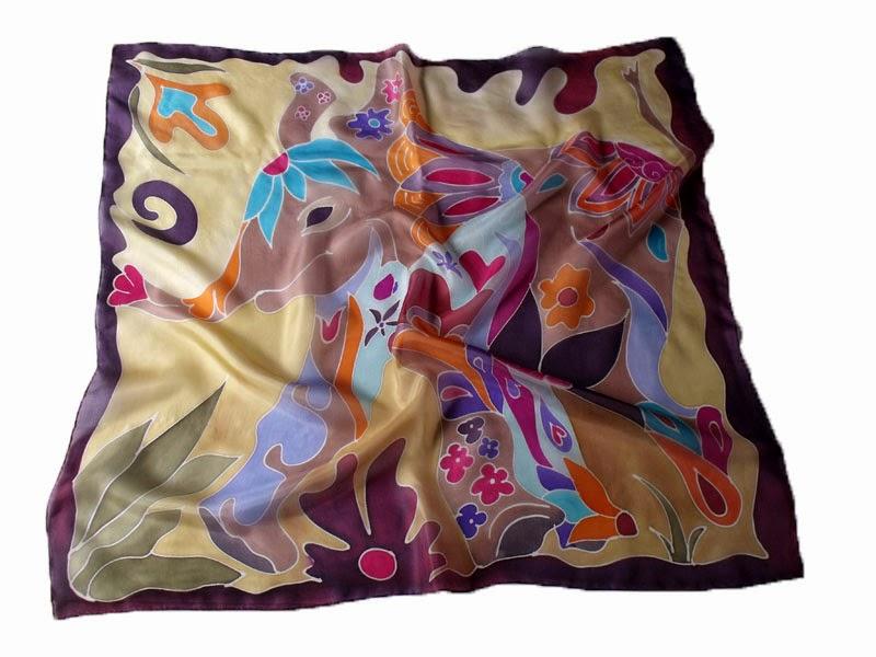 Elefánt selyemkendő - selyemfestéssel készült ajándék nőknek