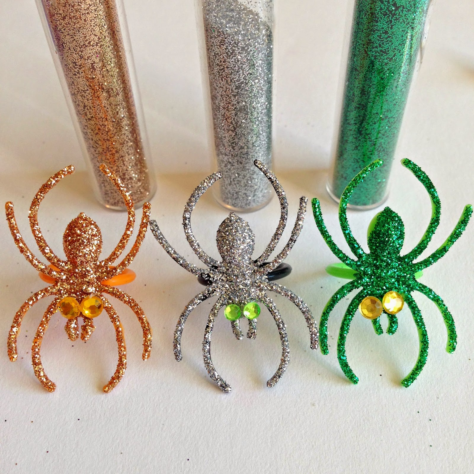 whimsy love  diy  glitter  u0026 bejeweled spider rings