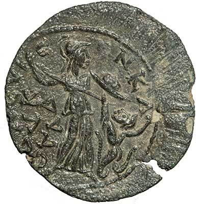 Bronze coin of Gallienus from Seleukeia ad Kalykadnon in Silicia showing Athena fighting a snake-legged giant.