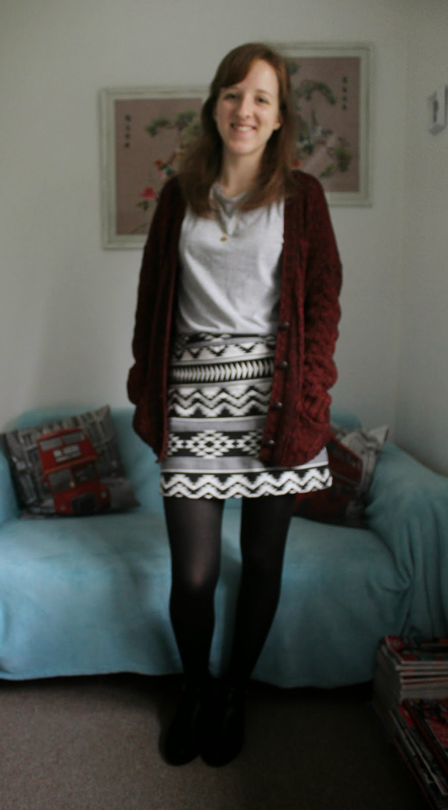 OOTD: That Aztec Skirt and Grey T-Shirt via Everything But The Kitchen Sink