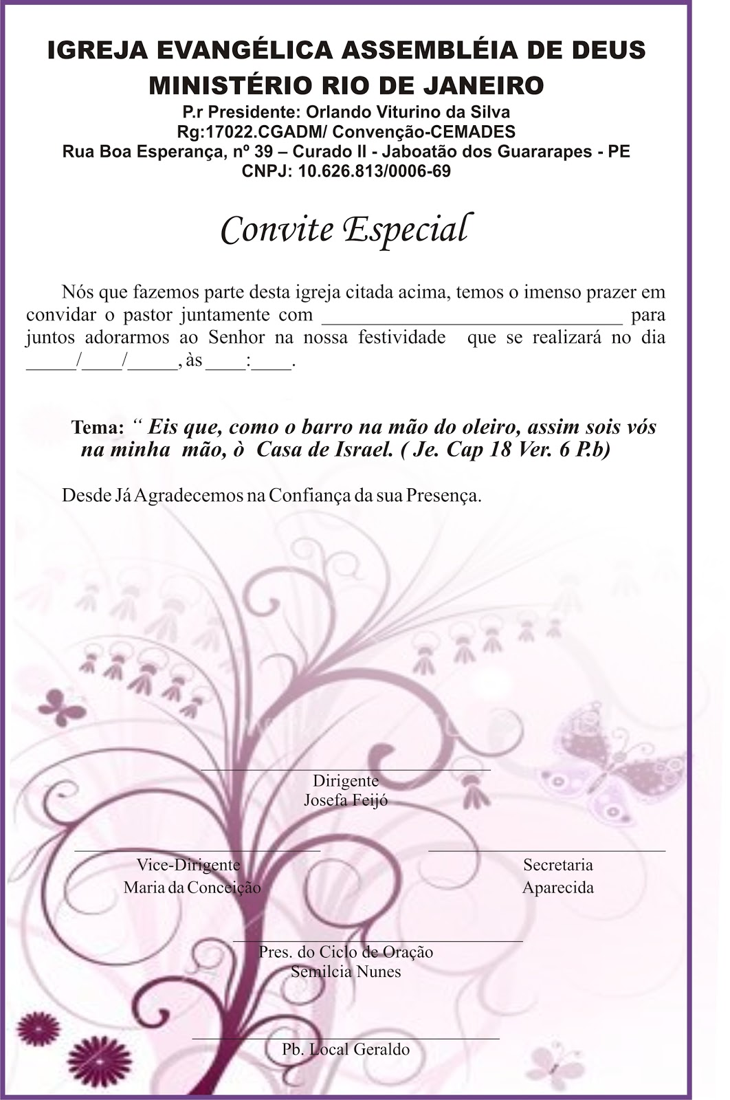 modelo de convite para igreja especial