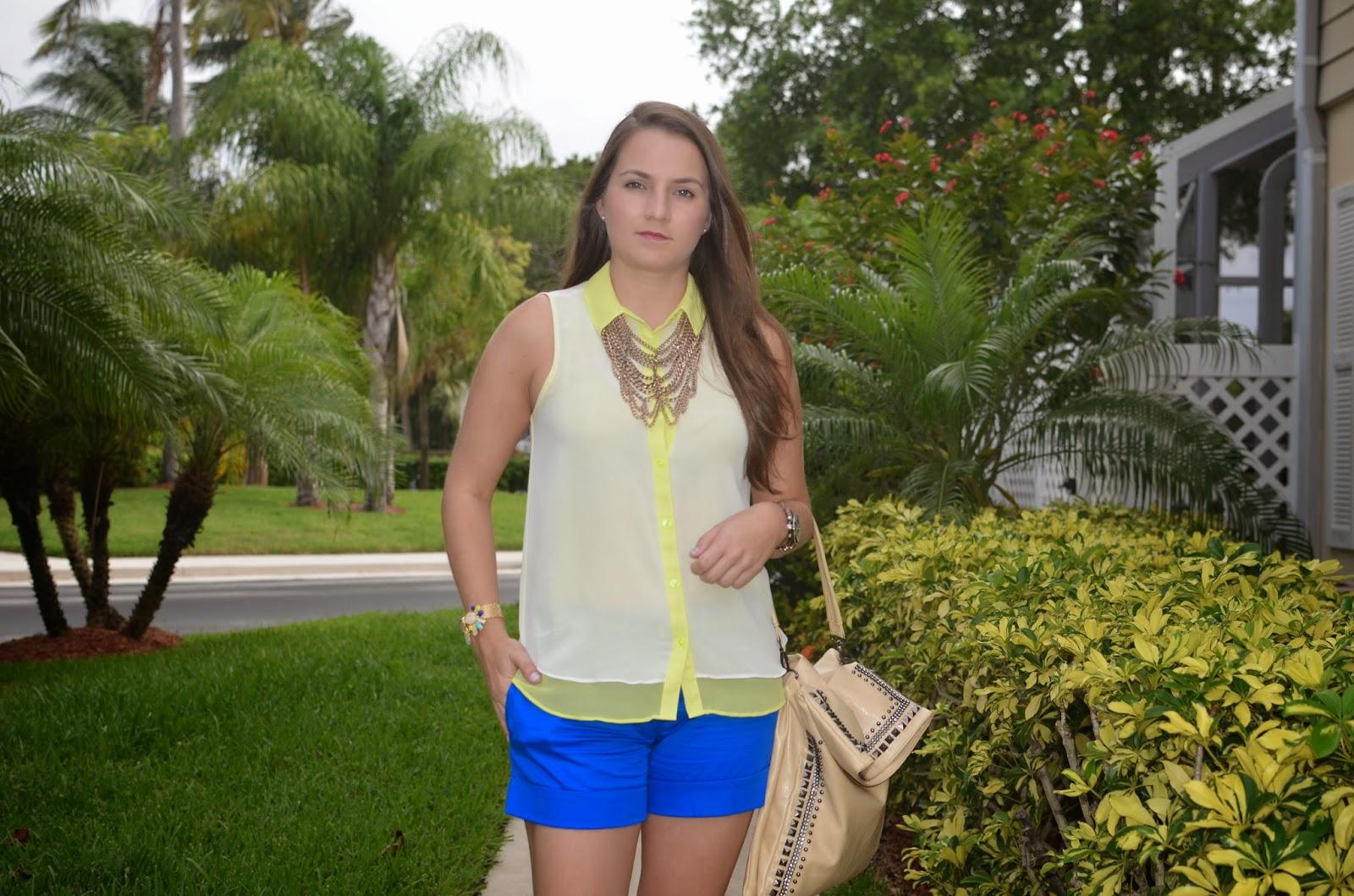 neon top - blue shorts - espadrilles - #Emma & Sophia