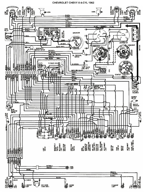 Wiring Diagram Of 1962 Chevrolet Chevy II 4 Cylinder All