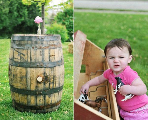 barril rustico y niña jugando-fiesta cumpleaños country vintage