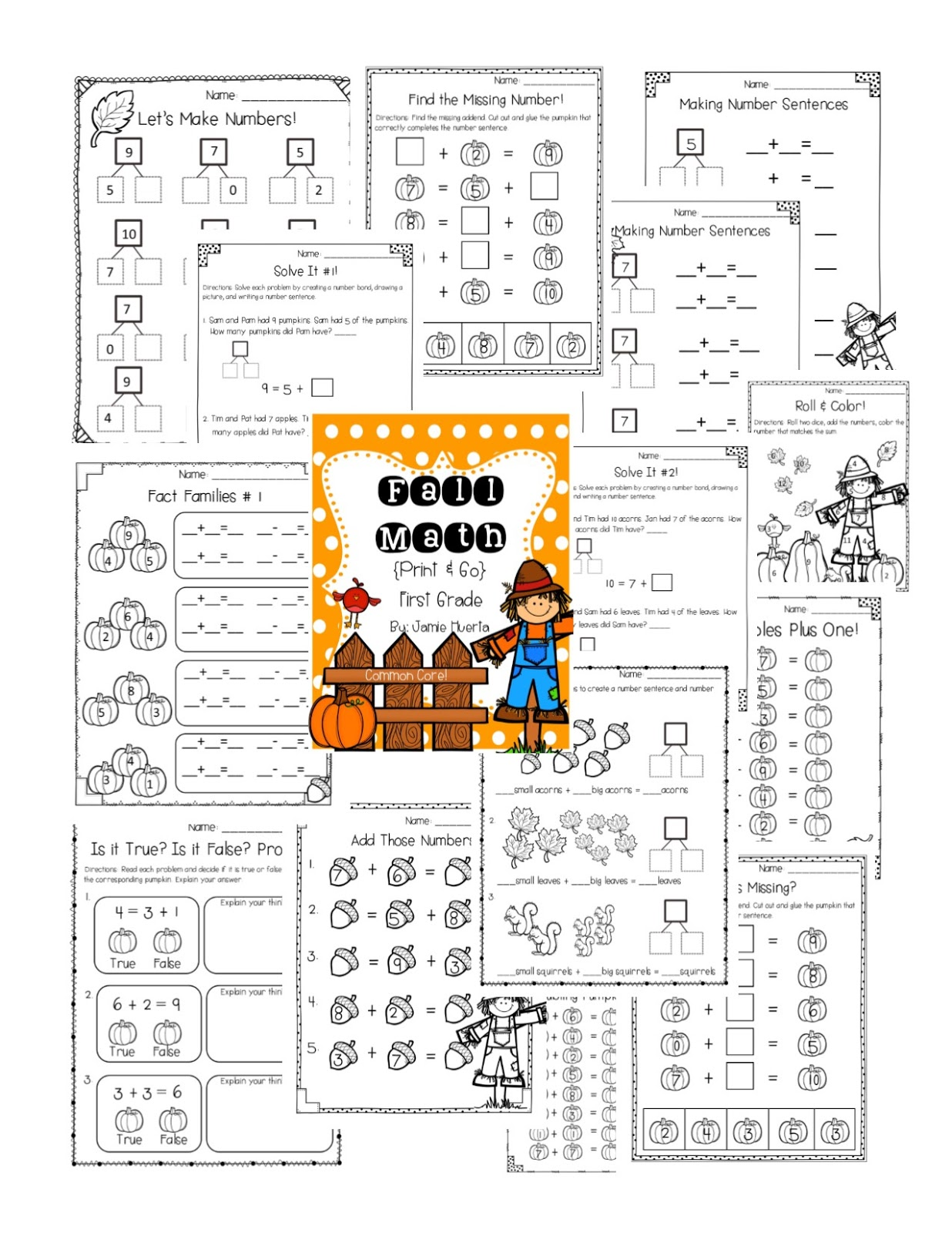 http://www.teacherspayteachers.com/Product/Fall-Math-First-Grade-Print-Go-1430185