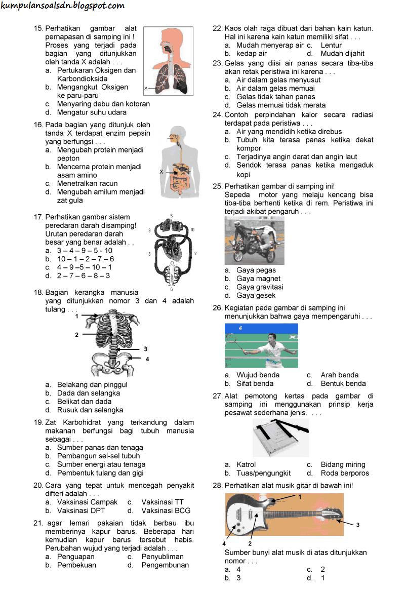 Soal UN IPA 6 SD dan Kunci Jawaban US TA 2013-2014