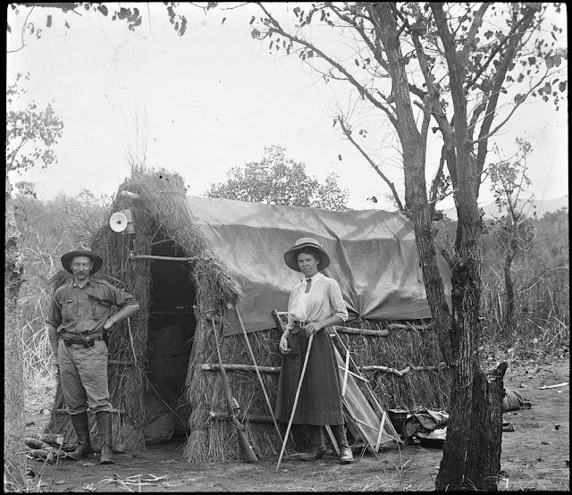 Mr. and Mrs. E.O. Teale, field geologist Tanganyika, outside hut