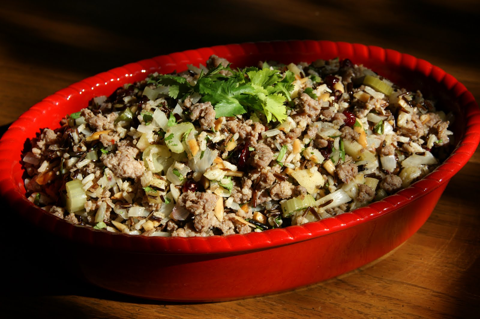 Chicken Sausage Brown Rice Stuffing With Celery And Mushrooms Recipes ...