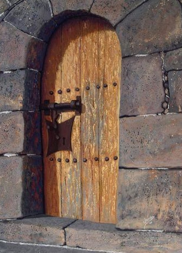 Cuadros pinturas oleos pintura realista de puertas antiguas for Pintura para puertas