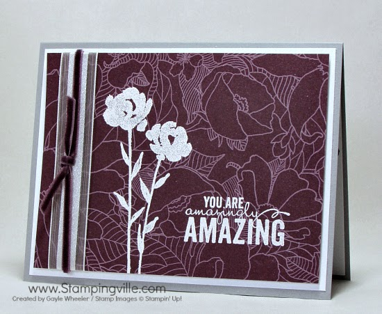 Quick Mother's Day card by Gayle Wheeler, Stampingville: Stampin' Up! Painted Petals stamp set embossed on Park Lane Designer Series Paper.