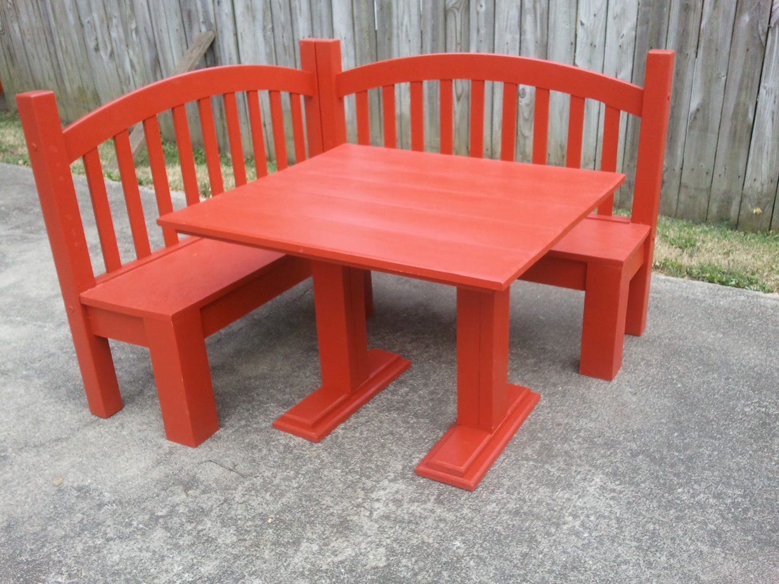 Diy corner dining bench - Red Bench And Table For Kids