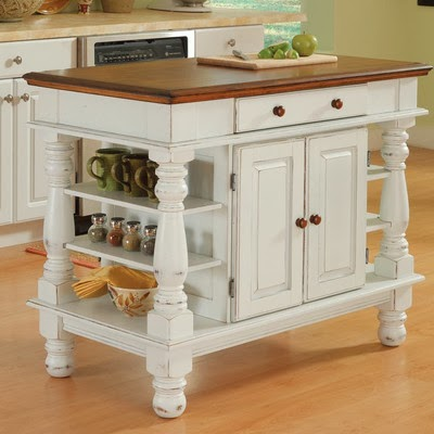 Kitchen Island Features Shelves