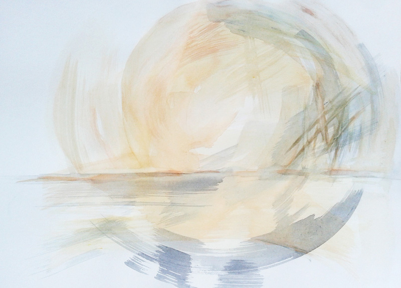 abstract gestural watercolor painting, conceptual modern contemporary art, brushstrokes, landscape, sunrise, sunset, water, sun, reflection, pale yellow, pastel blue