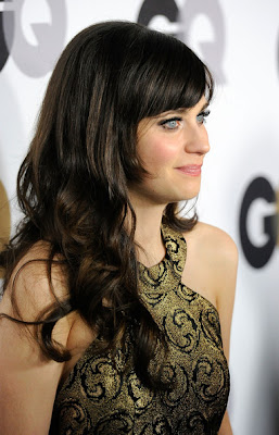 Zooey Deschanel Long Wavy Cut with Bangs Hairstyle Photo