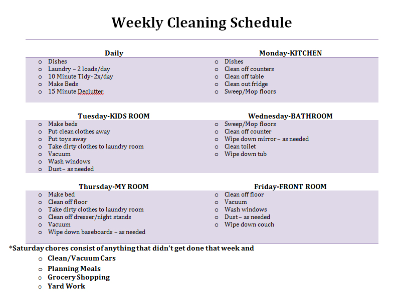 Clean Room Daily Schedule - Monthly Cleaning Schedule ...
