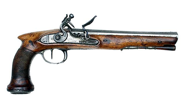 Pistolet skałkowy (bateryjny) - typ pistoletu pojedynkowego, stanowił własność Stanisława Małachowskiego. Wykonany w manufakturze zbrojeniowej w Końskich w 1831 r. W zbiorach Muzeum Wojska Polskiego w Warszawie,  fotografia - eMWPaedia.