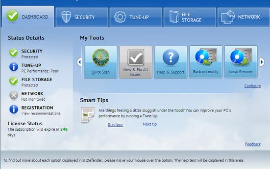 Bitdefender total security beta display
