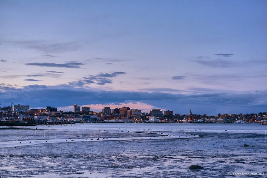 Portland, Maine Winter March 2014 City Skyline from South Portland at Sunset Photo by Corey Templeton