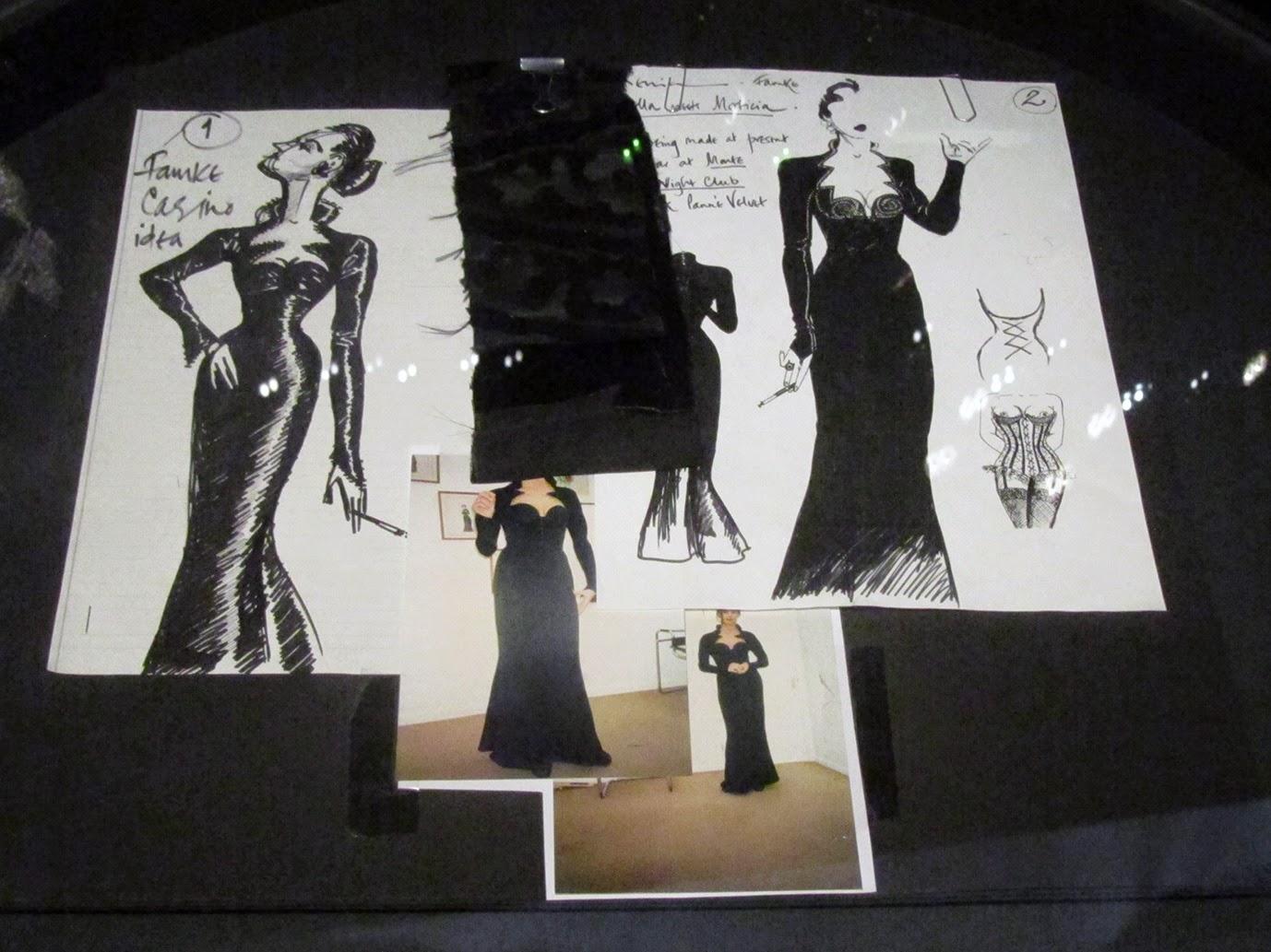 drawings of Famke Janssen's black dress