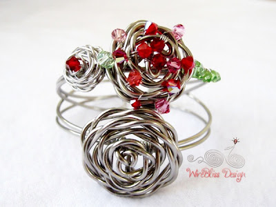 Wire Wrap Adjustable Rose Cuff by Wirebliss - two