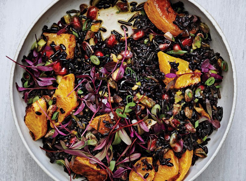 black and wild rice salad with roasted squash recipe from Bon Appetit