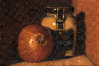 Oil painting of a brown onion beside a jar of Maille mustard.