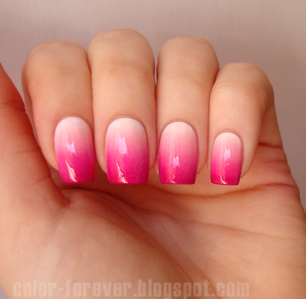 Two Tone Nail Polish Fade: Color Forever: Valentine's Nails