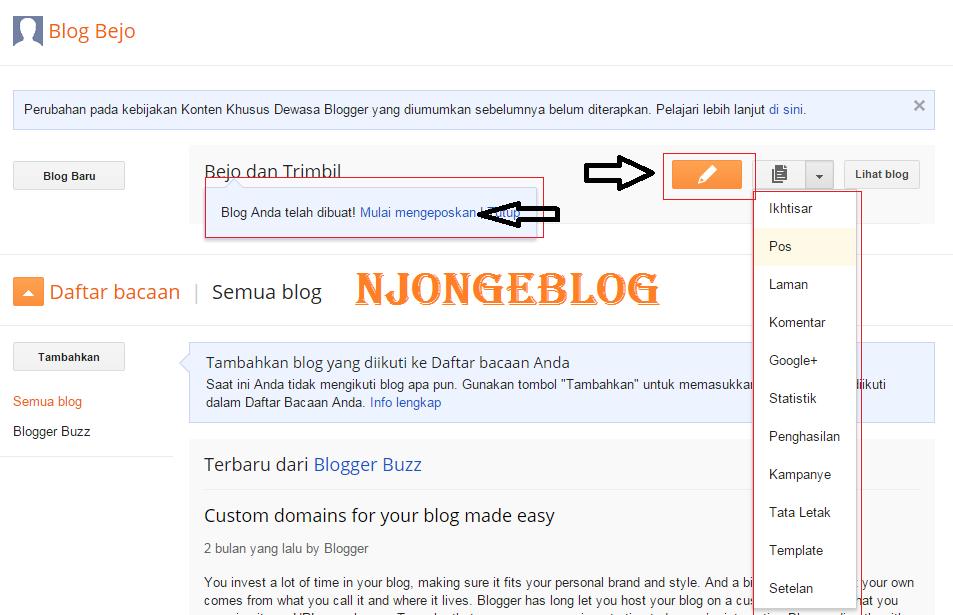 Cara membuat blog mudah di blogger.com