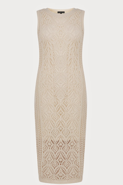 cream crochet dress, crochet midi dress, warehouse cream midi dress,