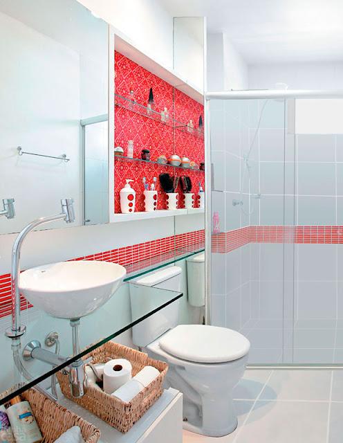 Construindo Minha Casa Clean Nichos na Decoração!!! -> Nicho Banheiro Prateleira Vidro