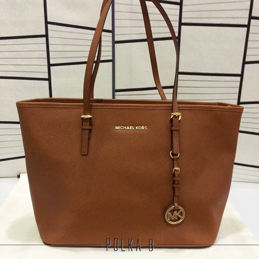 michael kors jet set travel saffiano leather top zip tote luggage polka b authentic luxury. Black Bedroom Furniture Sets. Home Design Ideas