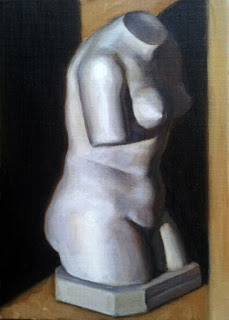 Oil painting of a plaster cast of a female torso sans head and arms.