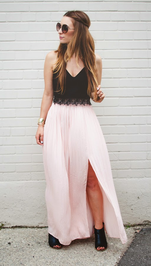 ootd blush maxi skirt and black lace crop top la