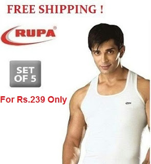 Rupa Jon Premium Vests Set of 5 (Sleeveless) for Rs.239 With Free Shipping @ Rediff