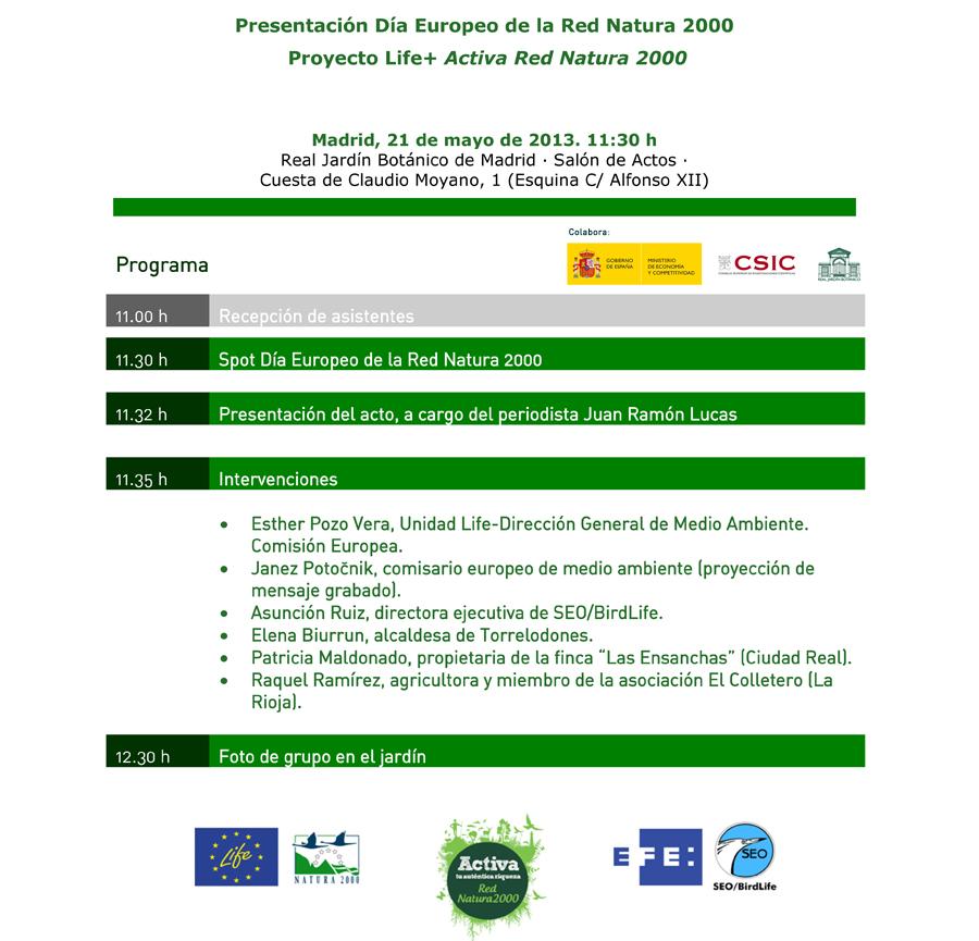 Programa del acto central del Día Europeo de la REDNATURA 2000. 21 de mayo en Madrid.