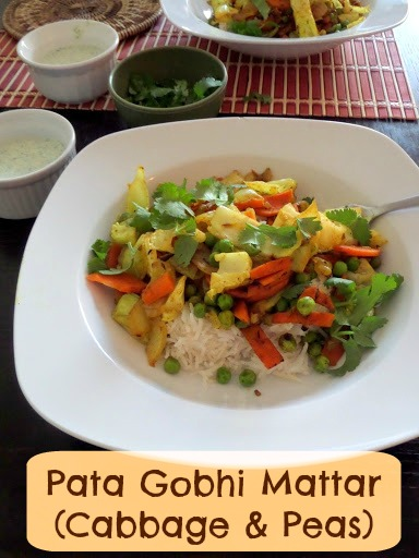 Patta Gobhi Mattar (Cabbage and Peas):  A spicy, vegetarian Indian dish of cabbage, peas (I added some carrots to the mix), and warm spices.