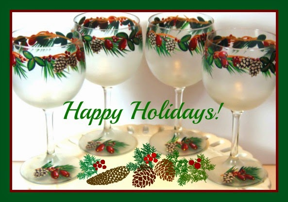 Pine Cone and Holiday Cranberry Painte Wine Glasses