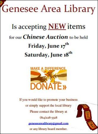6-17/18 Genesee Library Chinese Auction
