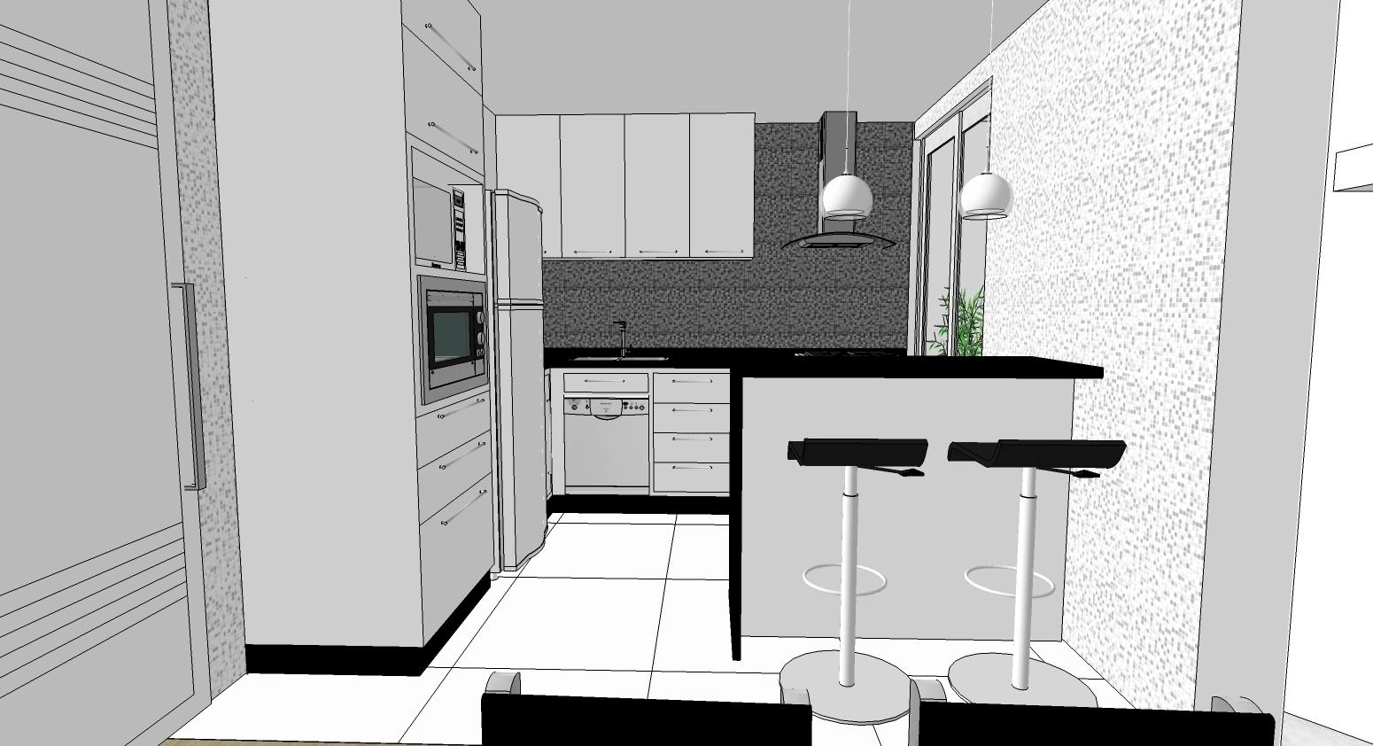 Aqui o novo projeto sem o armário ao lado do cooktop a coifa e a  #497043 1550 842