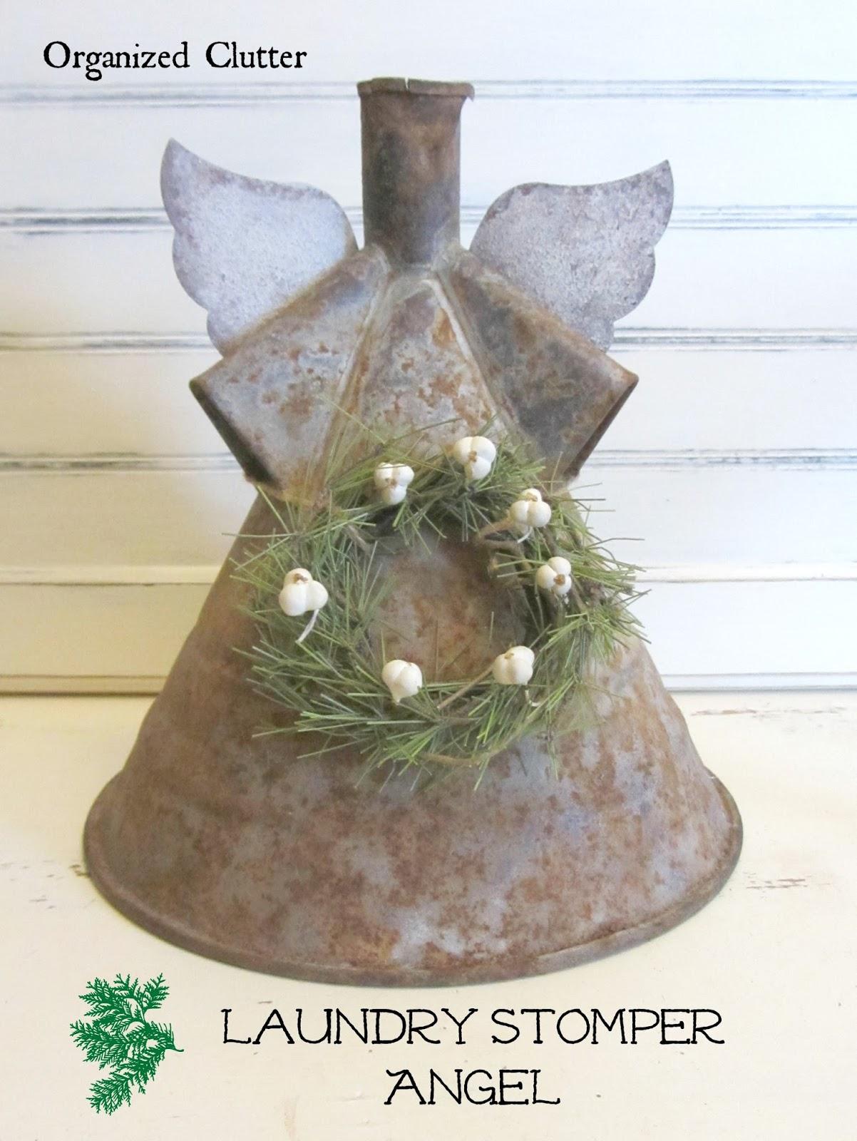 Rustic Christmas Angel www.organizedclutterqueen.blogspot.com