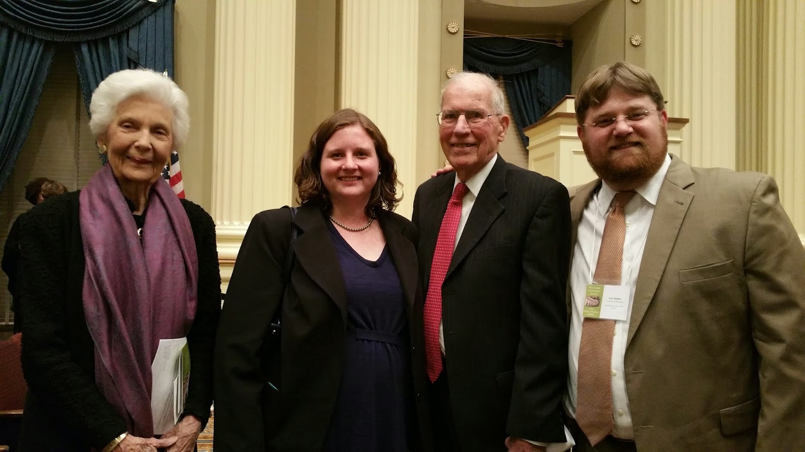 Photo with Elise Varner Winter, Dr. Annie Davis Weber, Governor William Winter, and Dr. Eric Thomas Weber