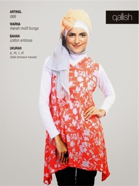 Qallish merah motif bunga 069