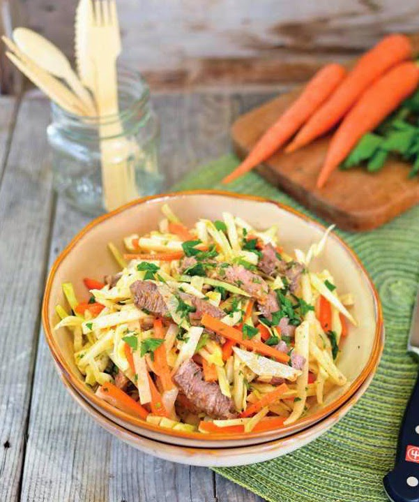 Jicama Carrot Slaw with Grilled Steak
