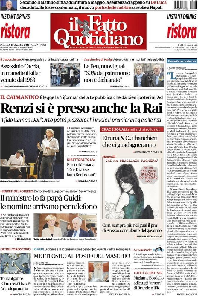 Reportages Quotidiani La Miglior Prima Pagina Di Oggi Mercoledì