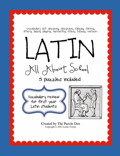 http://www.teacherspayteachers.com/Product/Latin-Vocabulary-Puzzles-Review-of-School-Words-for-First-Year-Latin-Students-978699