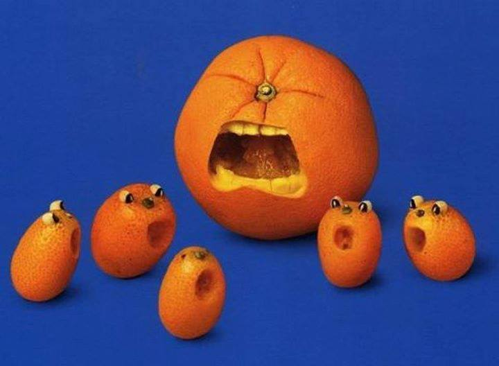 Funny orange carving art 2