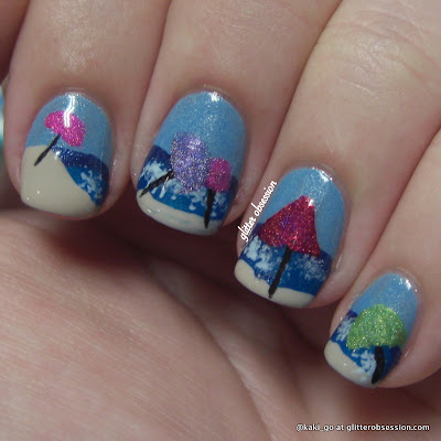 glitter obsession: beach nail art