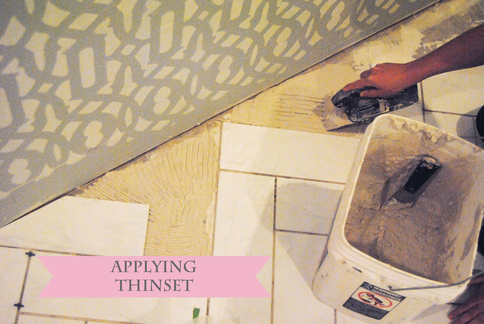 Visual eye candy how to tile a herringbone floor part i -  Scraping The Thinset With The Trowel
