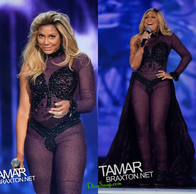 SNAPPIN PHOTO: UMM TAMAR BRAXTON STEPPED ON STAGE IN BEDAZZLE BLACK THONG BODYSUIT-DivaSnap.com